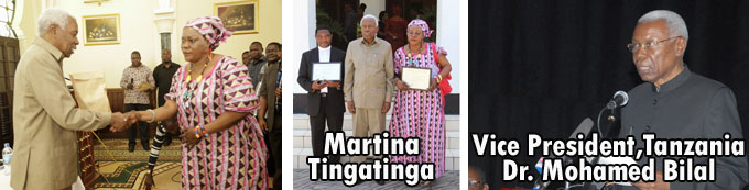 Vice president of Tanzania gives price to Martina Tingatinga